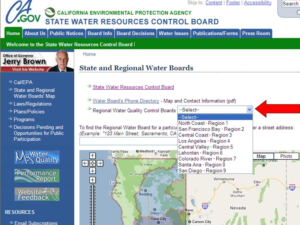 State and Regional Water Boards Map