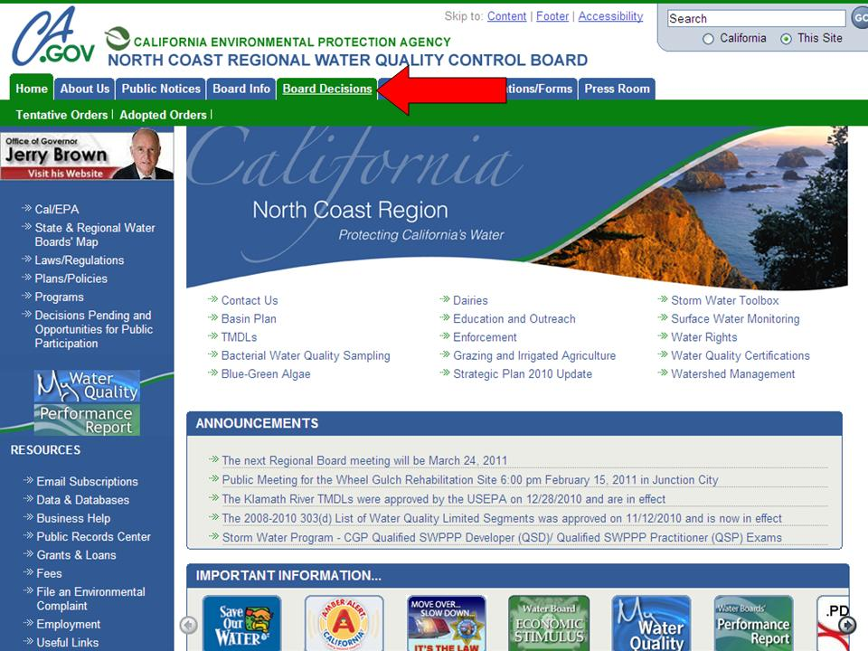 Example of a Regional Board Home Page