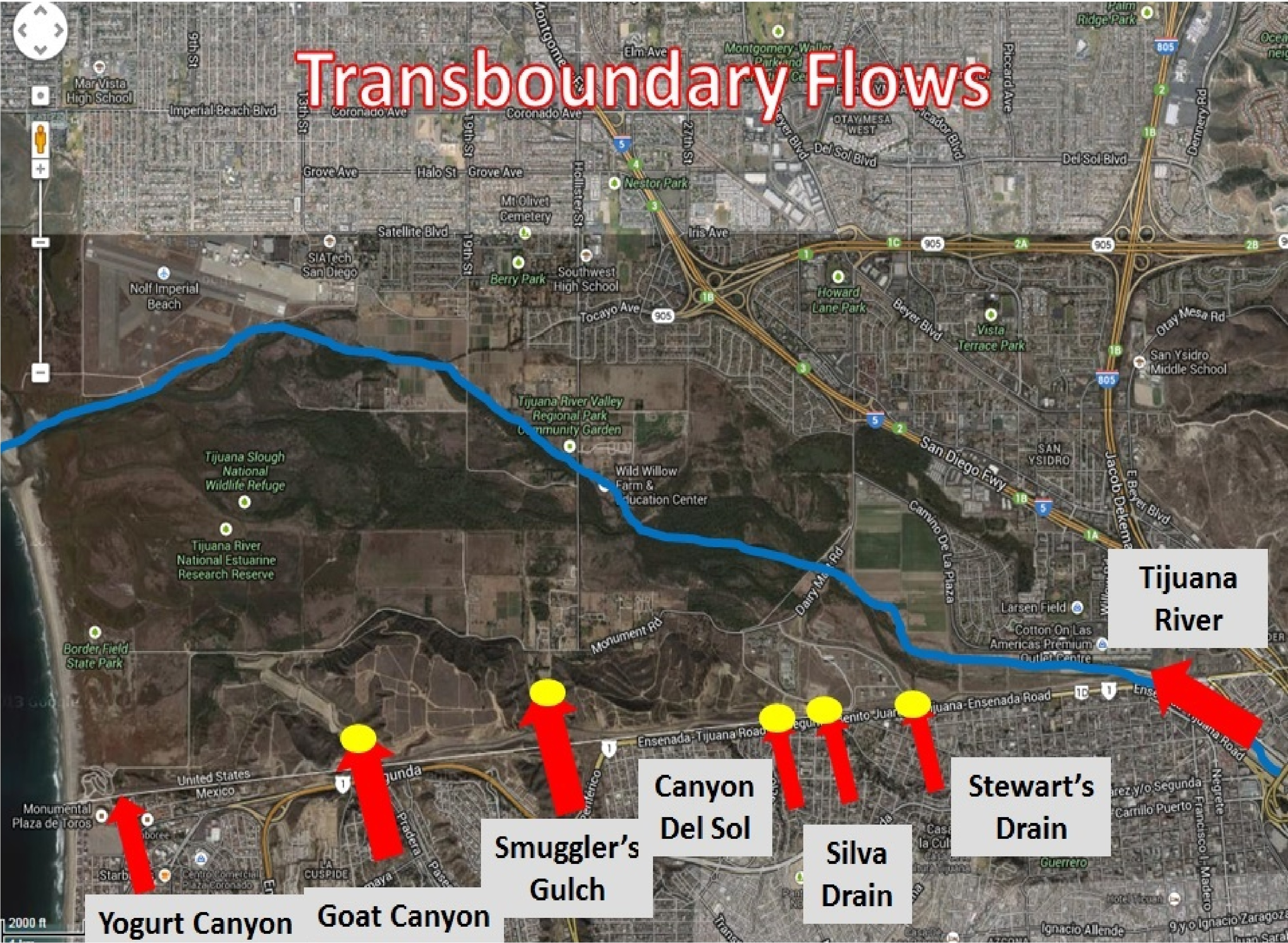 Sewage Pollution Within The Tijuana River Watershed San