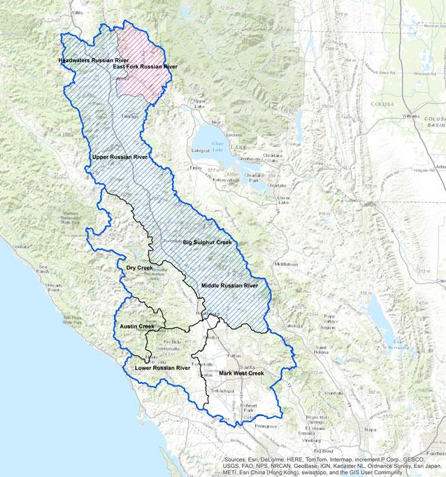 California Water Crisis Curtailments - California river map